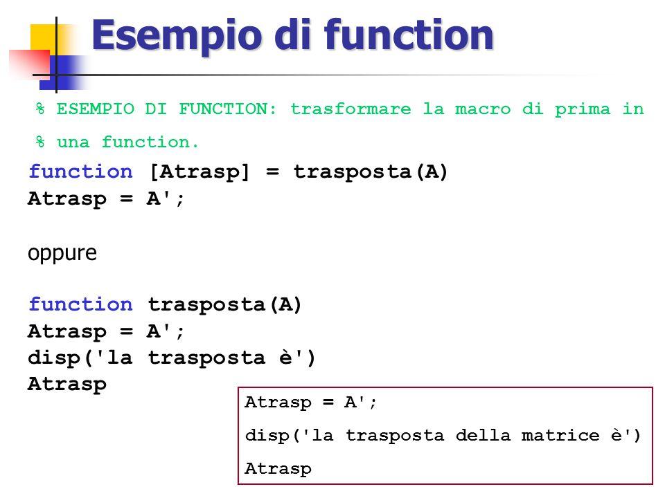 Esempio di function function [Atrasp] = trasposta(A) Atrasp = A ;